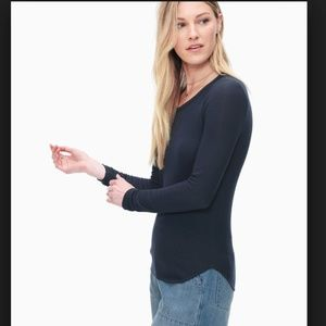 NWT Splendid 2x1 Rib Long Sleeve Crew Tee XS Navy